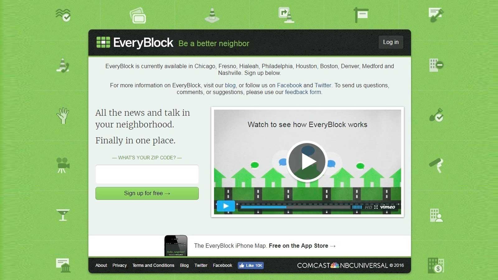 EveryBlock homepage