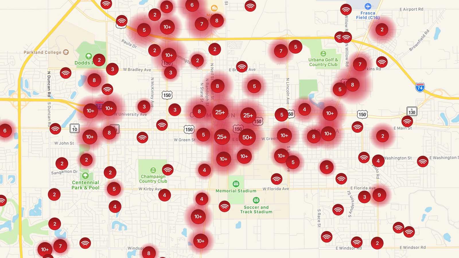 Champaign Urbana WiFi map