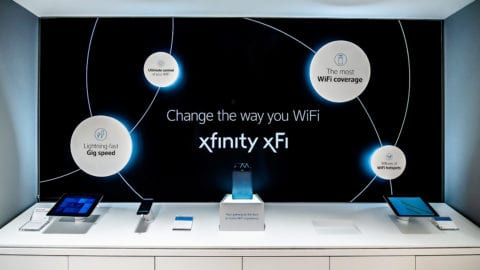 An Xfinity xFi display at an Xfinity retail store.