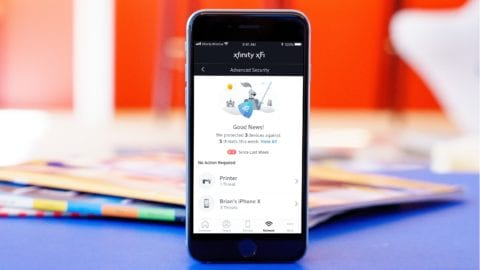 An Xfinity xFi advanced security notification displayed on a mobile phone.