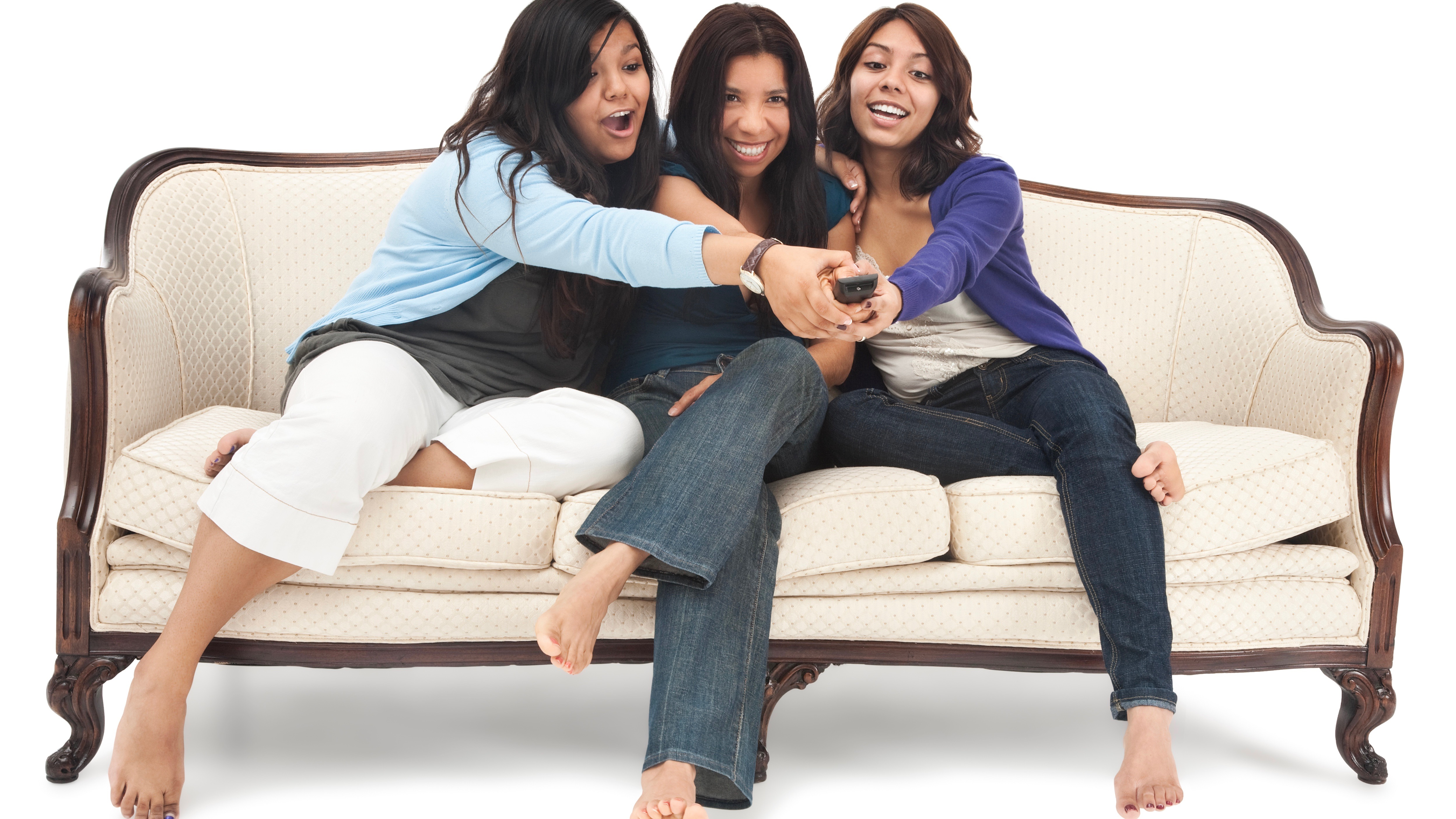 Mother and Daughters Fighting Over Remote Control
