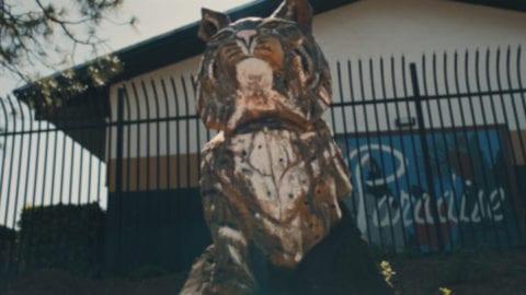 The Paradise High School bobcat statue.