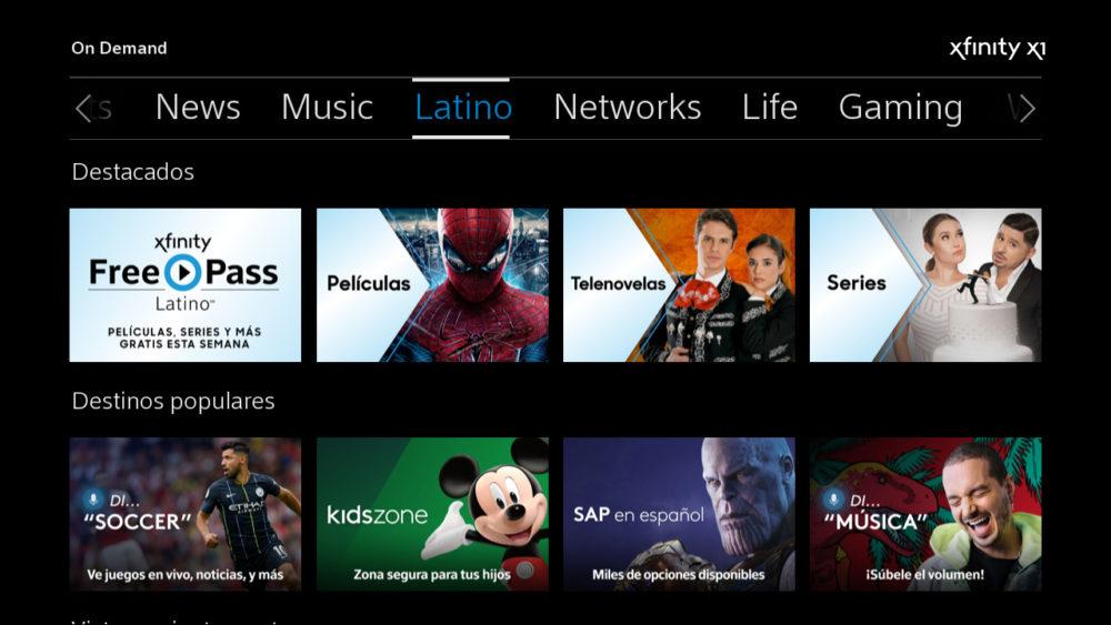 The Latino hub on Xfinity X1.