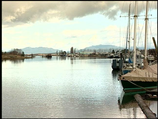 Waterfront scene in La Conner, Washington