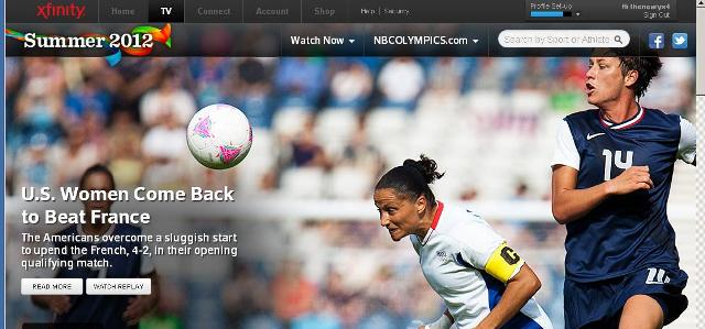 screenshot of the xfinity web page about the olympics