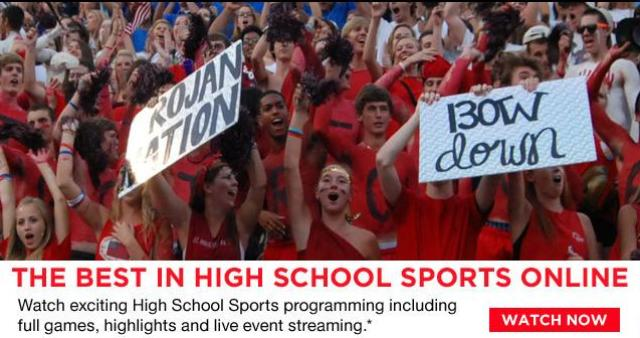 Screenshot of the Xfinity High School programming web page