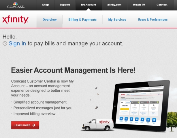 screenshot of Comcast's My Account Xfinity self-service portal