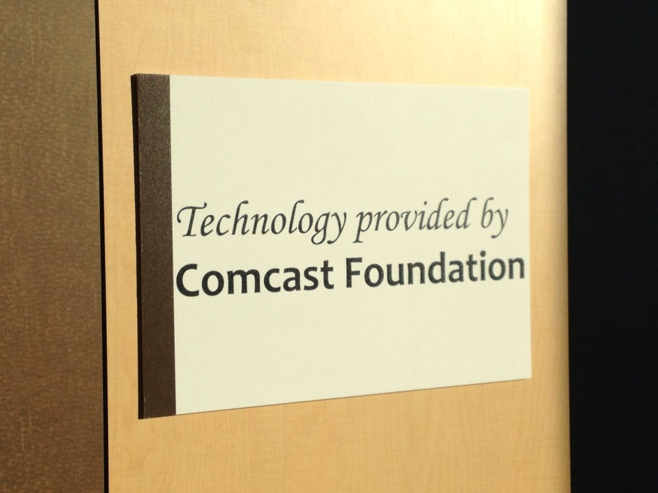 sign acknowledging the Comcast Foundation