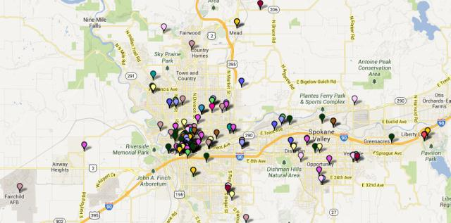 screenshot of Spokane detail of the Comcast community investment map