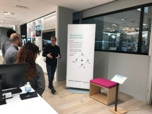 Living Computers: Museum + Labs Curator Aaron Alcorn describes Twitter Bench at Xfinity retail store in Bellevue