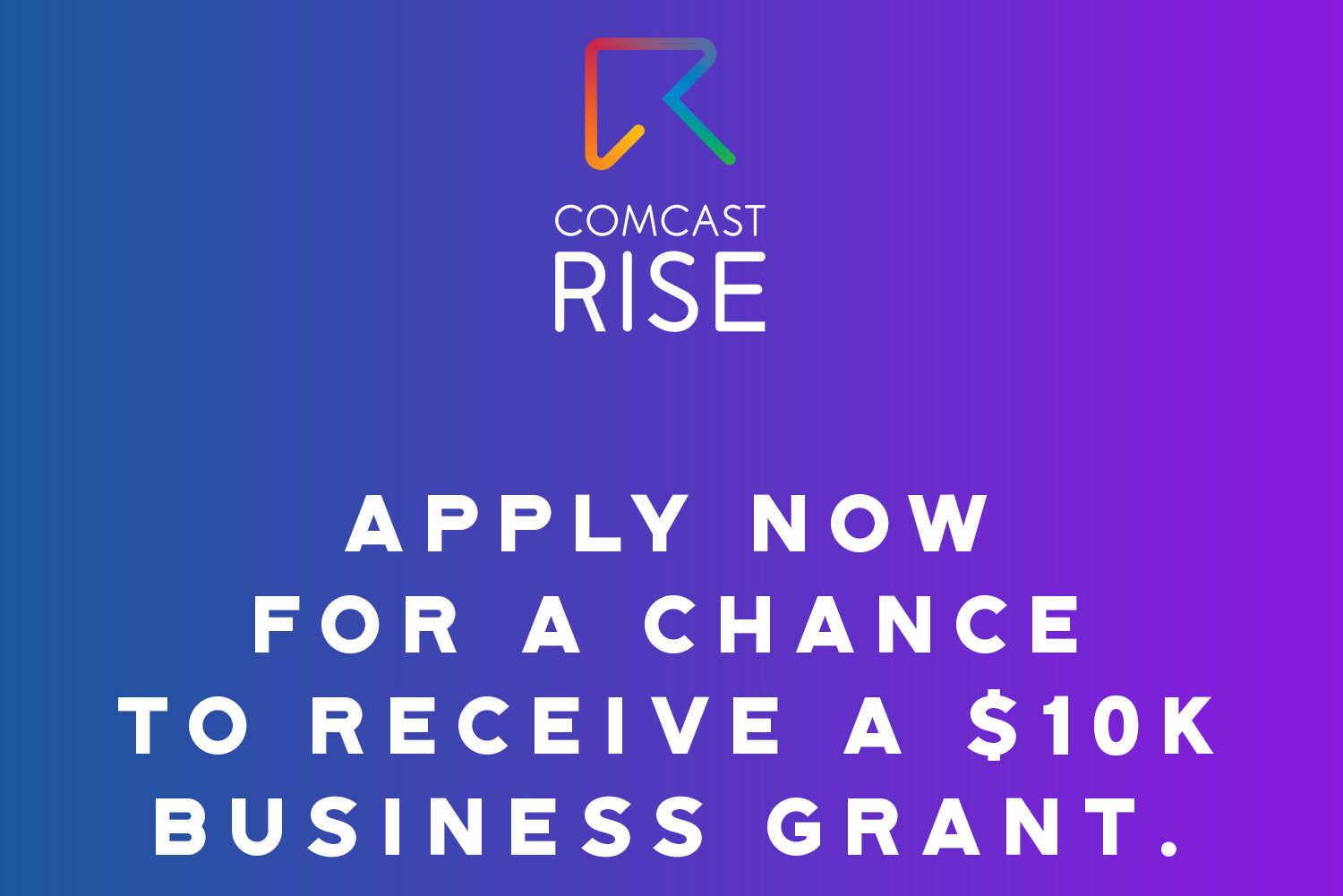 A blue background, written is: apply now for a chance to receive a 10K business grant.