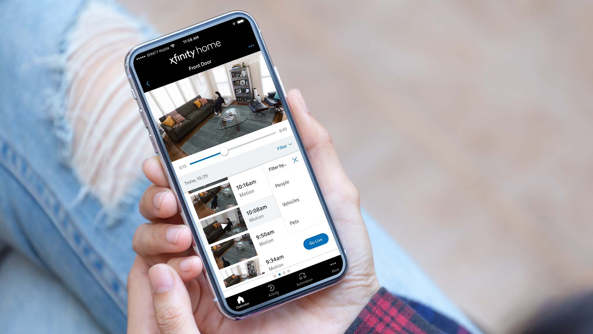 Xfinity Home App Pet Filter on a mobile phone