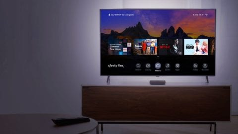 The Xfinity Flex home menu displayed on a TV.