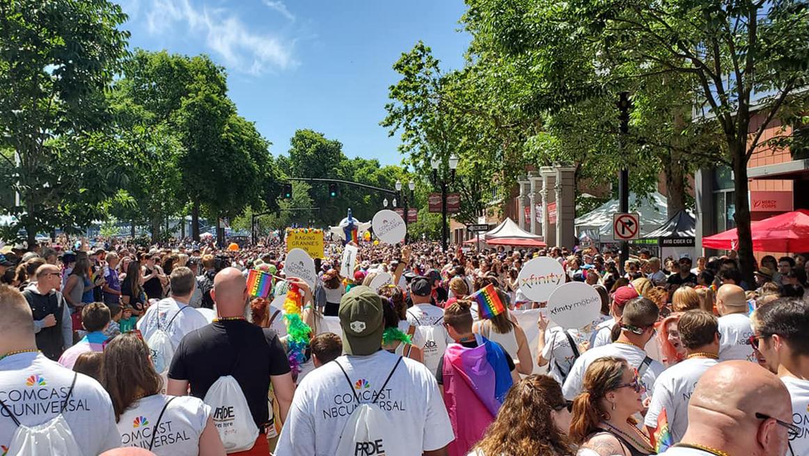 A crowd of participants in Portland's pride parade.