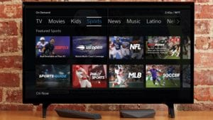 The Xfinity sports hub displayed on a TV.