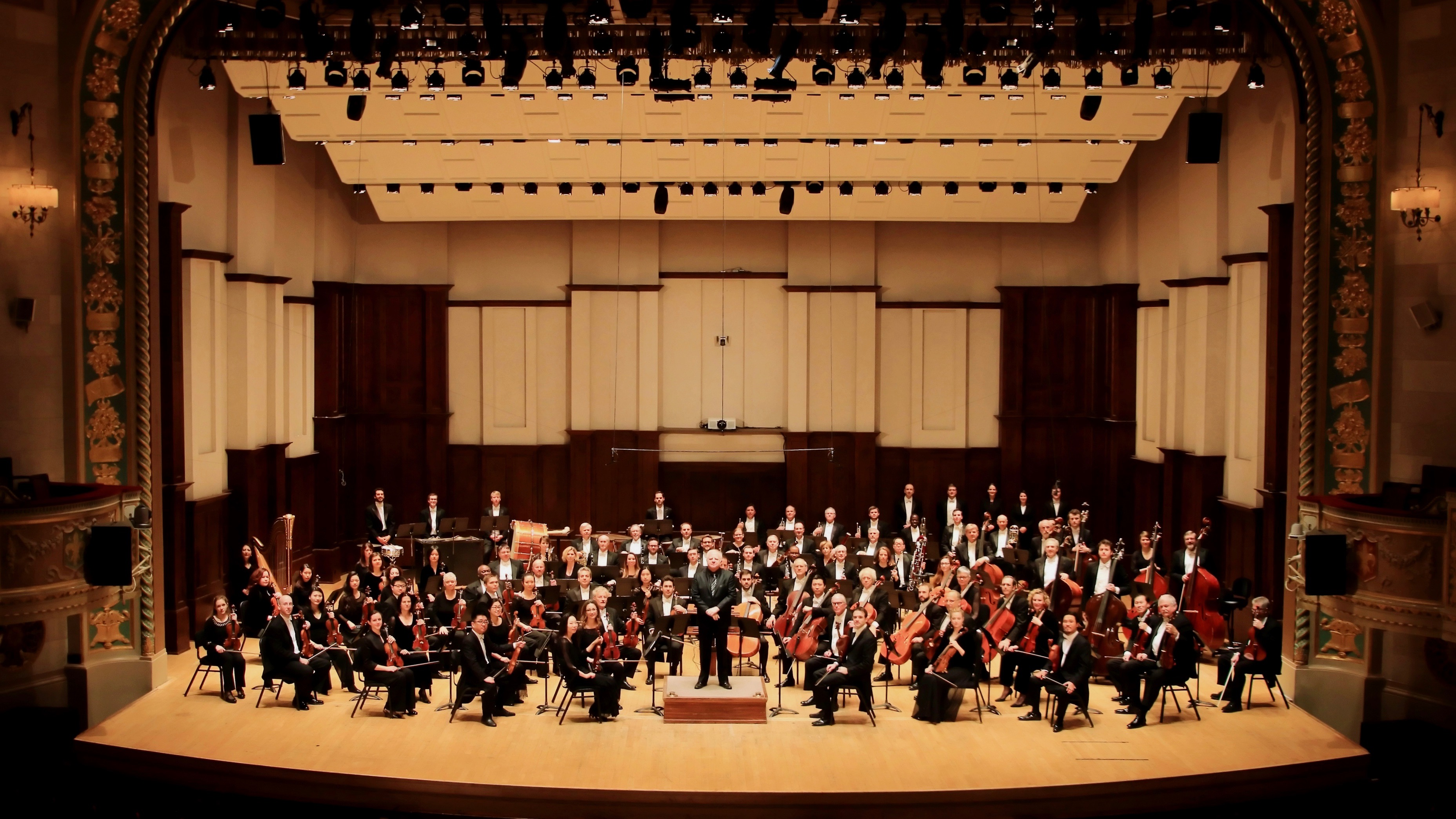 The Detroit Symphony Orchestra onstage.