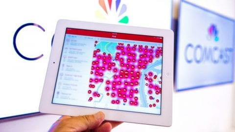 A map of Xfinity WiFi hotspots displayed on a tablet.