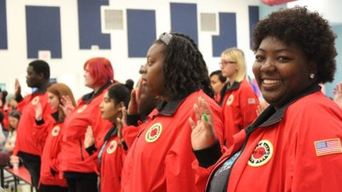 Members of City Year Jacksonville during the Service Day Kickoff event.