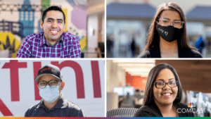 four Comcast employees in their work locations
