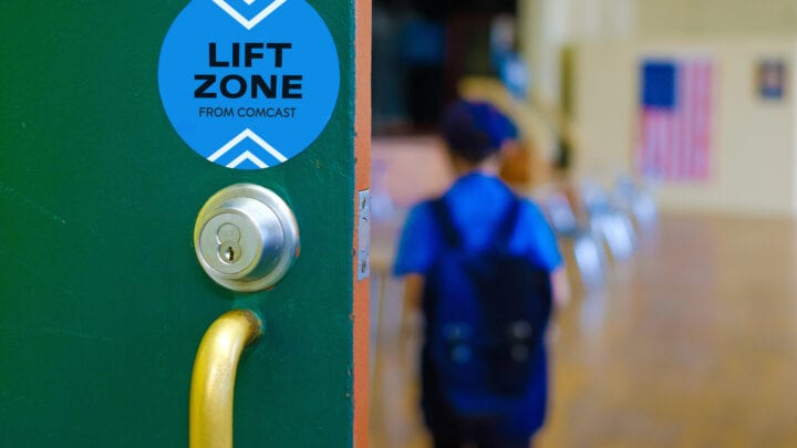 Lift Zone sticker on outside of classroom door
