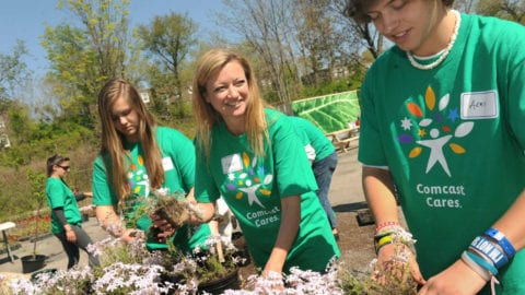 Karen Buchholz at Bartram's Garden on Comcast Cares Day