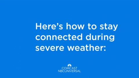 Severe weather warning with the Comcast NBCUniveral logo.