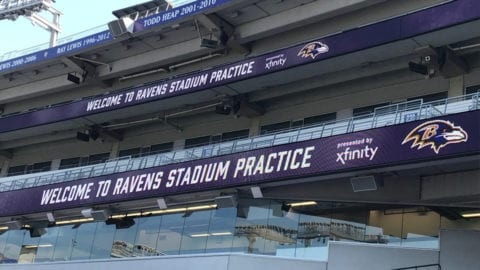 View of bleachers at the Ravens stadium.