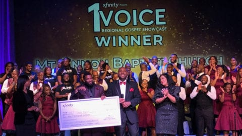 Participants onstage at the Xfinity 1 Voice Regional Gospel Showcase.
