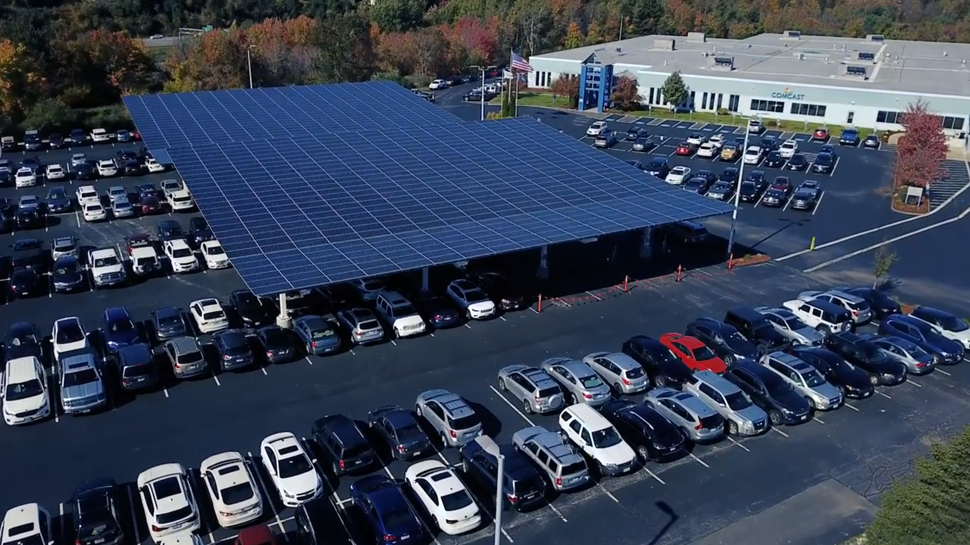 parking lot with solar panels