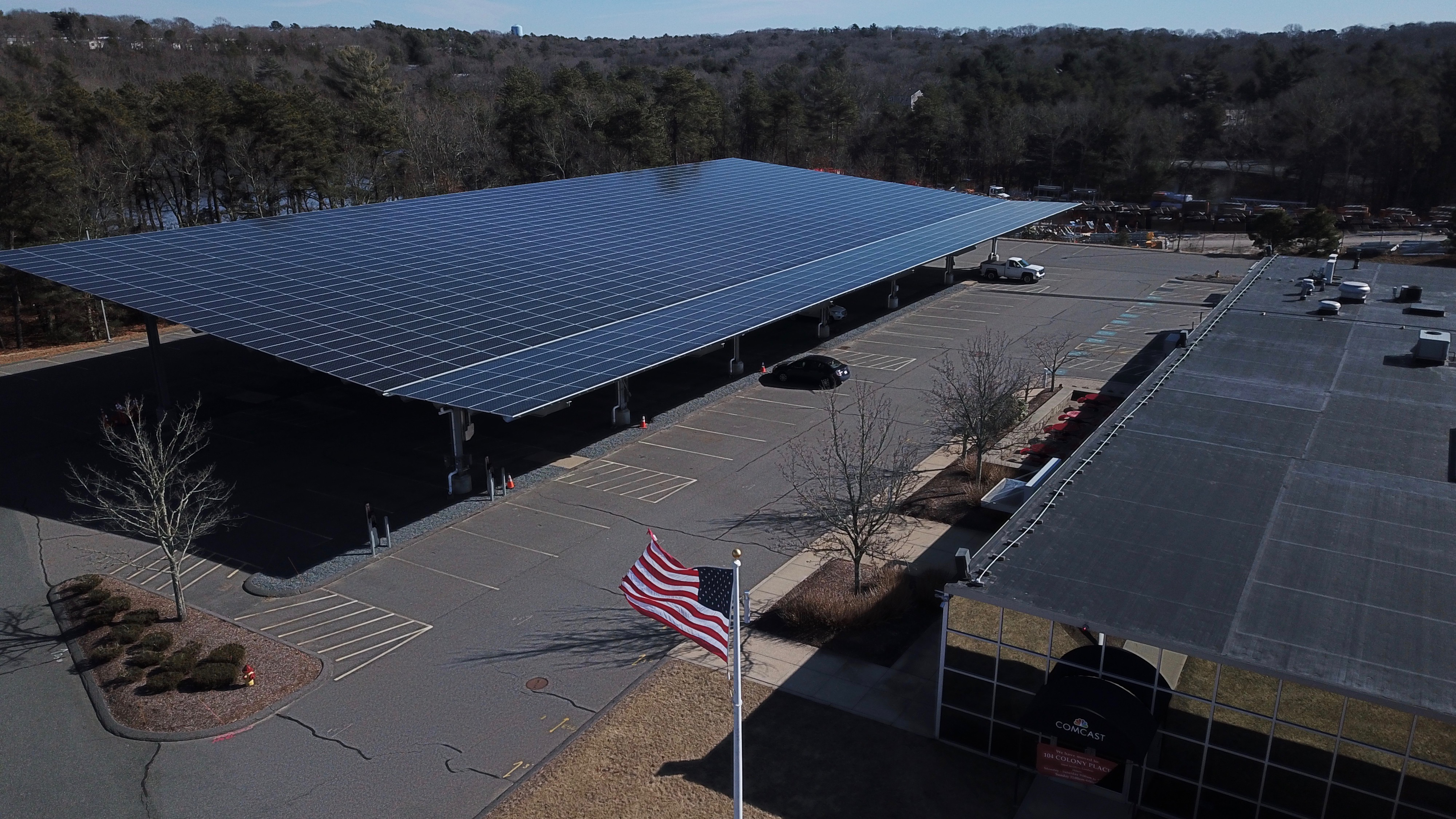 solar panels covering a parking lot