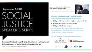 Social Justice Speaker Series promotional card