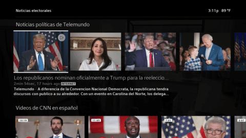 El menú virtual de Election Central, disponible en X1 y Flex.