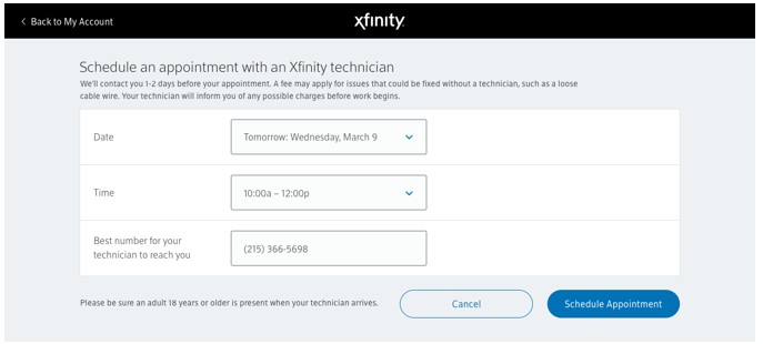 Schedule an appointment with an Xfinity technician screen