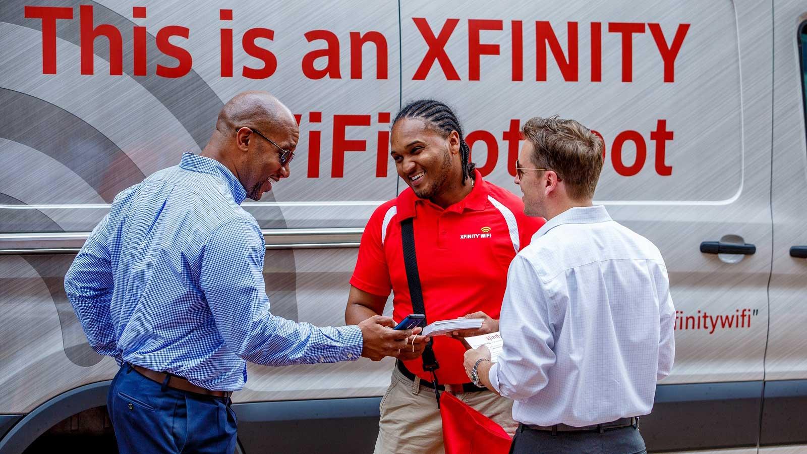 Xfinity tech outside of truck