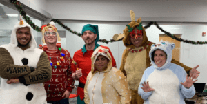 Comcast employees dressed in costumes for Sales Day