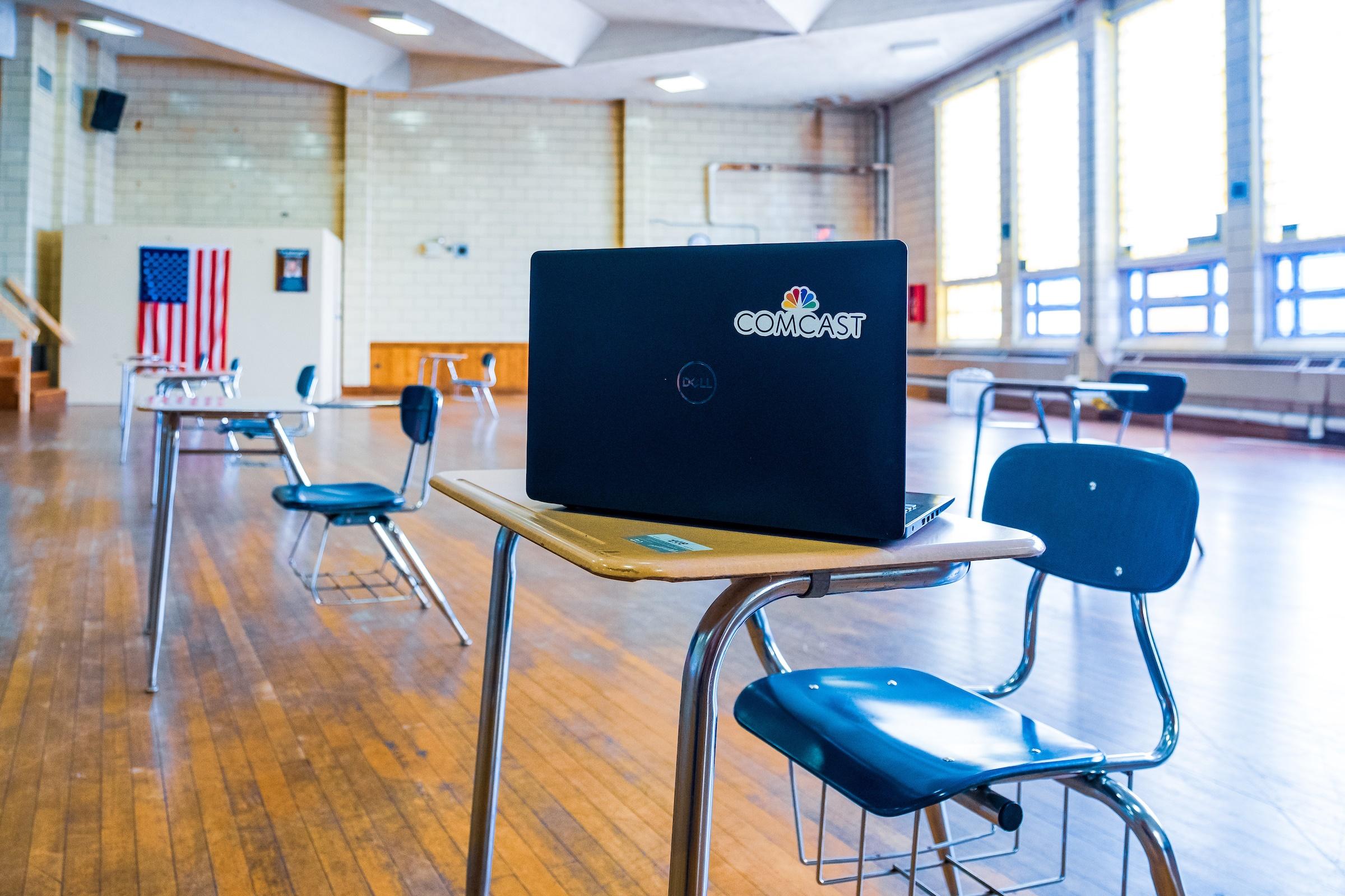 laptop on school desk