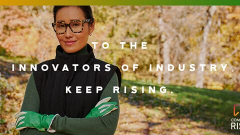 "Woman standing outdoors with caption overlay: ""To the Innovators of Industry - Keep Rising"""