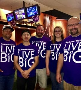 Comcast team during the Bowl for Kids' Sake event (left to right) Raul Molina, Nathan Berg, Seth Slezia, Julianne Phares and Brent Rickert.