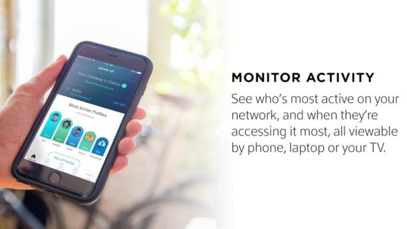 A smartphone displays the xfinity xFi app.